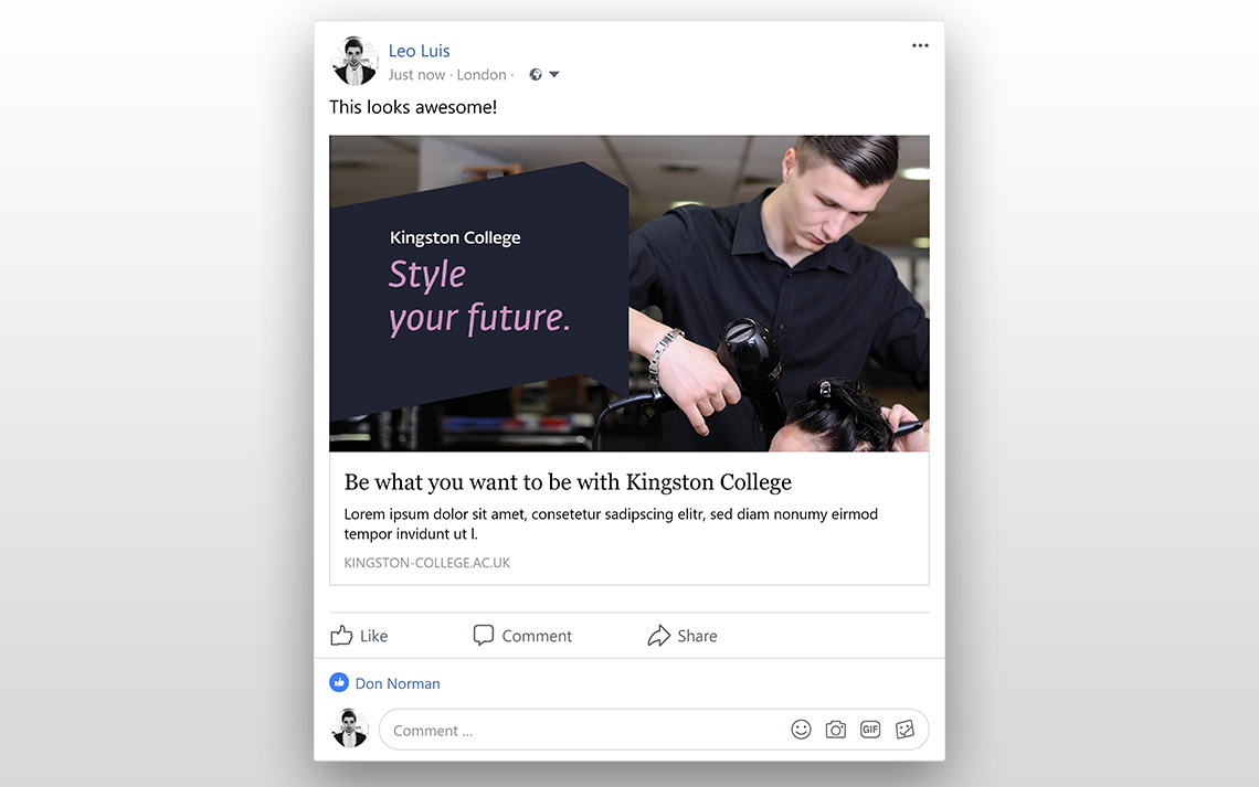 Kingston College Social Posts - Hairdressing